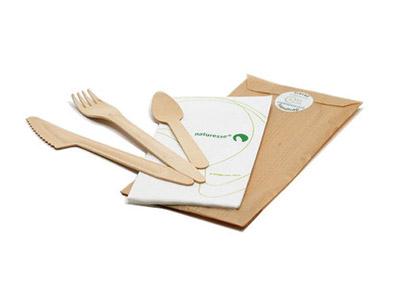 Kit 4 en 1 en bois de bouleau vaisselle jetable