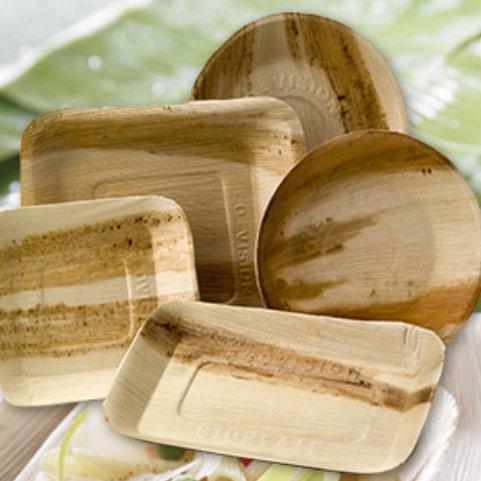 Image de vaisselle jetable en palmier en location sur Lyon et le Beaujolais - Loc'dunum